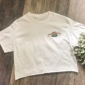 Friends   White Central Perk Cropped Tee Shirt